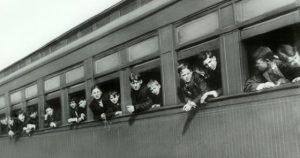 A Children's Aid Society picture of some of the orphan the train to homes.